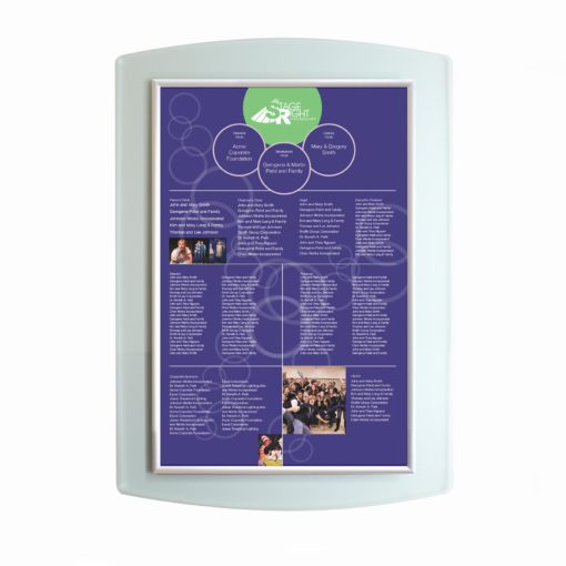 Donor Recognition boards - Donor Wall - Easy To Update- Acrylic - The Easy Frame Donor Wall can be customized to your organizations brand and donor names can be added easily and economically.