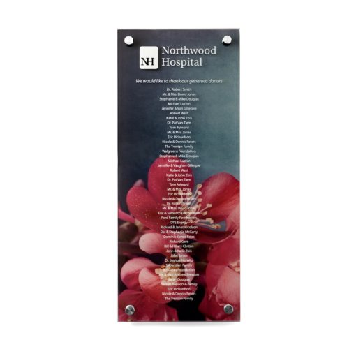 Donor Board - Recognize Donors With Printed Names on Your Choice Background - Photo Image Donor Wall - This plaque can hold 40 donor names, which are printed on the top piece fo acrylic. The bottom piece of acrylic is printed with an image or photograph that compliments your organization.