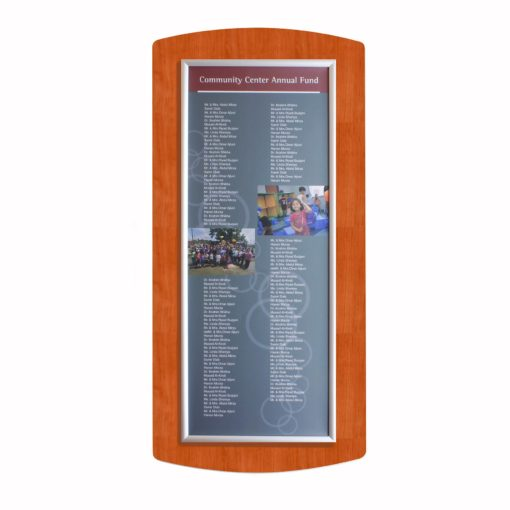 Donor Boards - Easy Frame Donor Wall - Add Names Annually - Cherry Wood - The Easy Frame Donor Wall can be customized to your organizations brand and donor names can be added easily and economically.