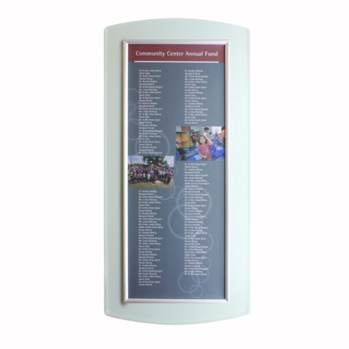 Donor Boards - Updatable/ Changeable Donor Wall - Easy To Update - Add Names - he Easy Frame Donor Wall can be customized to your organizations brand and donor names can be added easily and economically.