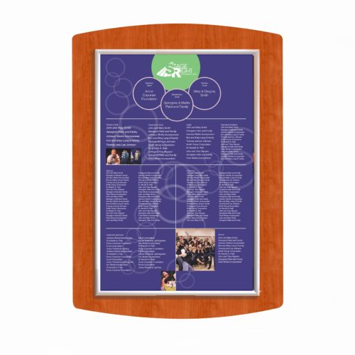 Donor Recognition boards - Easy Frame Donor Wall - Cherry Wood -The Easy Frame Donor Wall can be customized to your organizations brand and donor names can be added easily and economically.