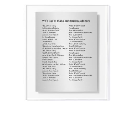Donor Wall Plaques - Acrylic Donor Wall - Holds 50 Donor Names for Capital Campaigns