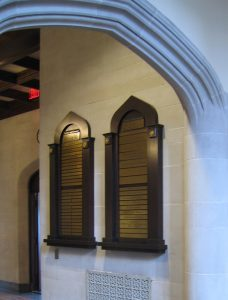 Traditional Donor Wall: We designed and fabricated three very traditional wood and brass donor walls that reflect the gothic architecture of this school.