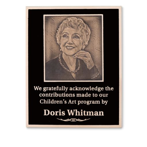 Memorial Plaques With Photo - Cast Photograph Into Bronze Plaque - This plaque can be used as a memorial plaque or a donor recognition plaque. This donor plaque combines a photograph of a person or family with text to honor your donor. This plaque is a great fit in many facilities, museums, theatre, hospitals, non profits, and universities.