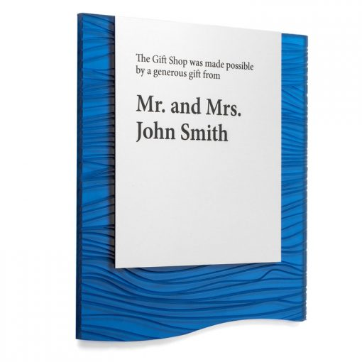 Blue Wave - This plaque is affordable and can be ADA compliant. Donor names are printed on to brass metal.