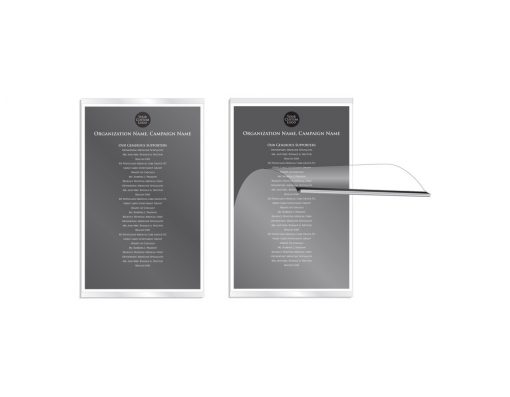 Donor Walls Recognition Displays - When it's time to add new donors, simply pull the top of the frame away from the wall and replace the 11″ x 17″ paper insert.