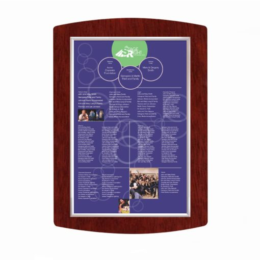 Donor Recognition boards - Easy To Update Donor Wall - Wood - Mahogany - The Easy Frame Donor Wall can be customized to your organizations brand and donor names can be added easily and economically.