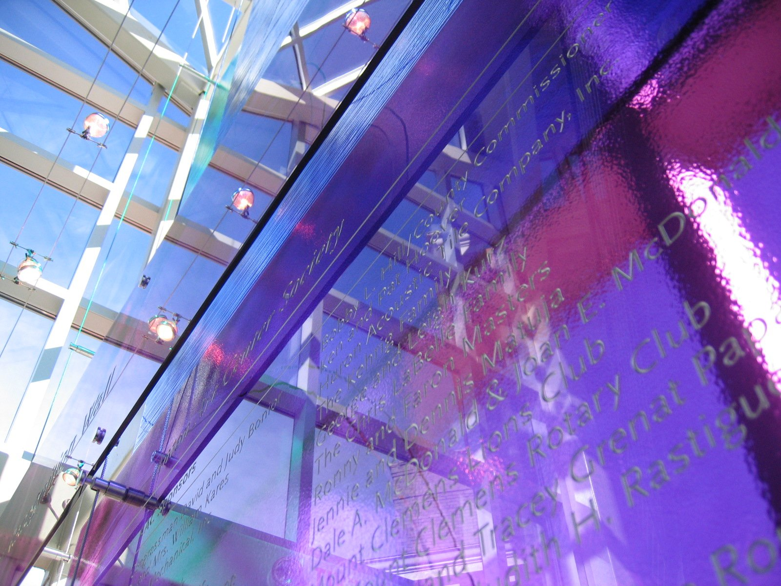 Anton Art Center Glass Donor Recognition Wall
