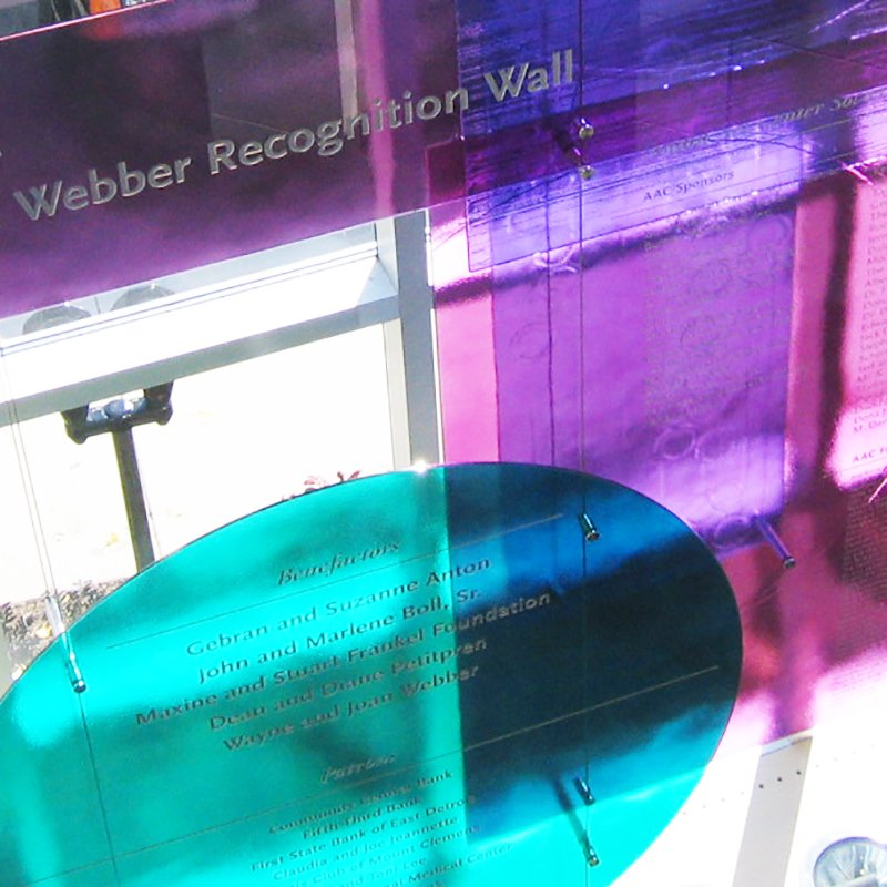 Etched glass recognition wall