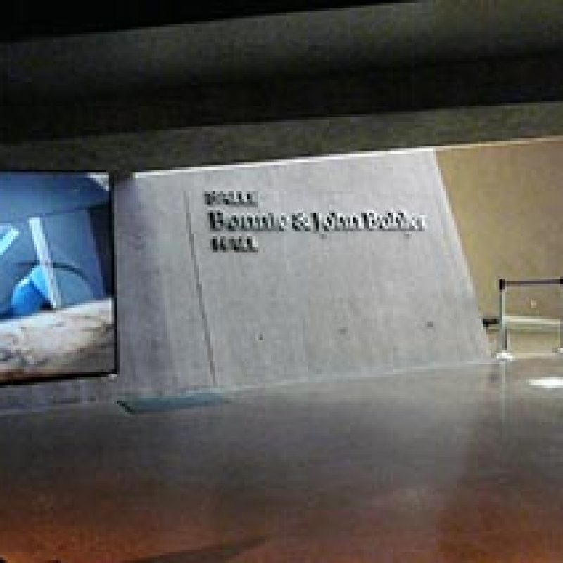 Individual letters for donor recognition: The largest donors were recognized with individual letters mounted to the wall. The size of the lettering indicates the giving amount.